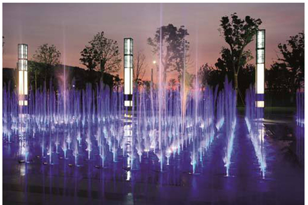 Square Music Fountain of Qinglongwan Central Town, China, 2021