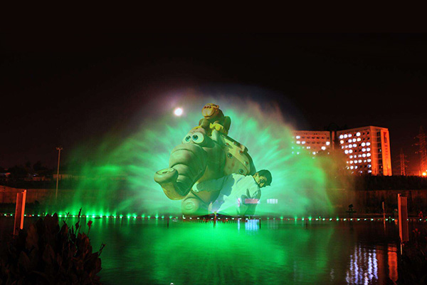 water screen projection in water show
