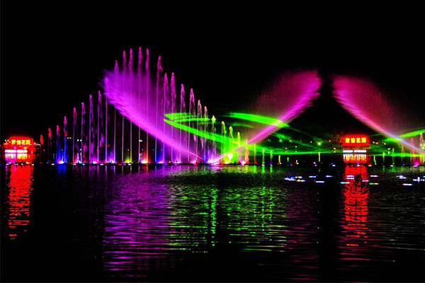 multicolor music fountain with LED lights