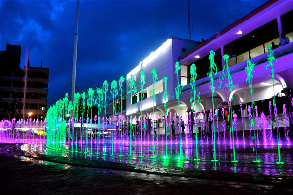 colorful musical dancing floor fountain with LED lighting